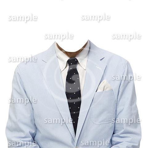 C020-男性夏水色ジャケット-遺影素材着せ替え