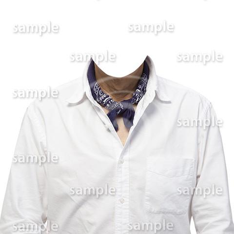 C026-男性白シャツ-遺影素材着せ替え