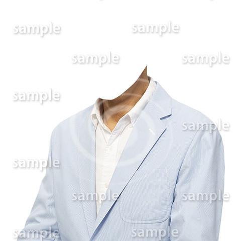 C022-男性夏水色ジャケット-遺影素材着せ替え