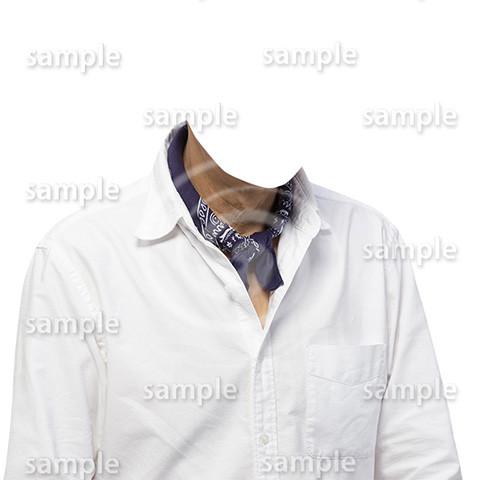 C027-男性白シャツ-遺影素材着せ替え