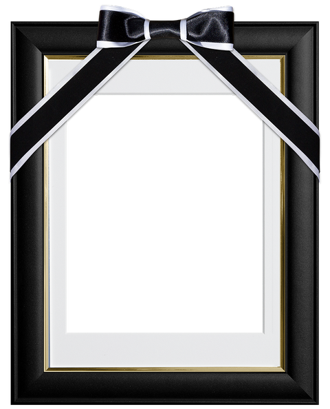 遺影の額-黒リボン2