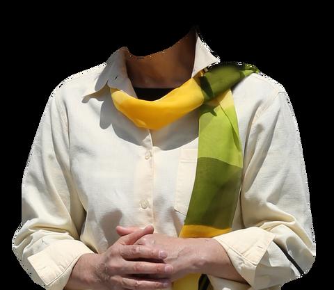黄色のストール遺影の着せ替え素材コラ