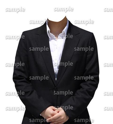 有料素材遺影着せ替え女性黒スーツ
