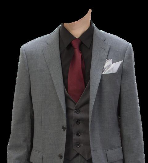 グレースーツ赤ネクタイ遺影素材