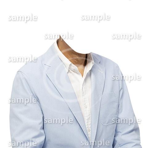 C024-男性夏水色ジャケット-遺影素材着せ替え