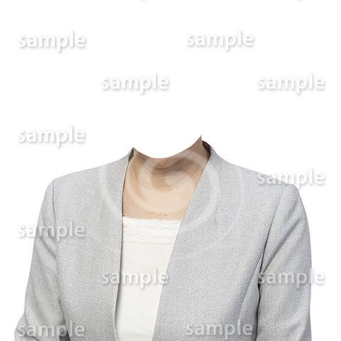 C117-遺影素材-女性グレージャケット着せ替え
