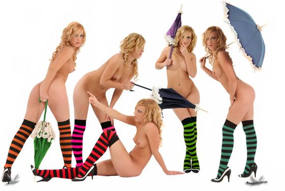 全裸にカラフルなオーバーニーソックスを履いている5人の女性?