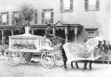 a horse-drawn hearse, circa 1900