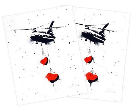 Martin Whatson x StreetArtNews Chinook Hearts Handfinished Prints Giveaway