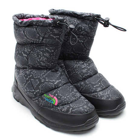 THE NORTH FACE NUPTSE BOOTIE (BLACK SNAKE/PINK)