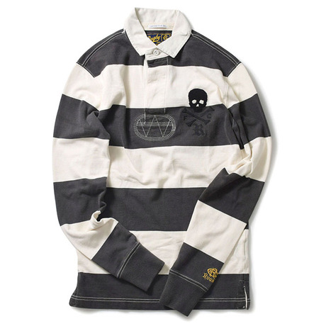 RUGBY BY RALPH LAUREN VINTAGE SLIM FIT STRIPED SKULL POLO