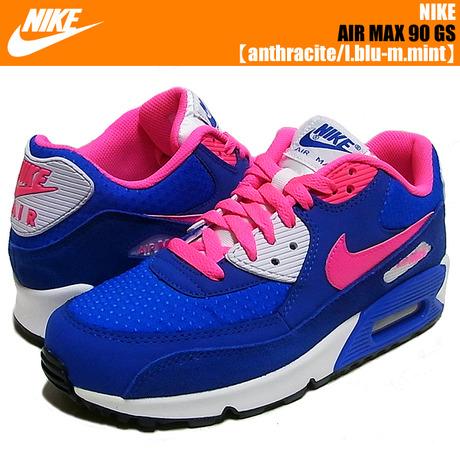 NIKE AIR MAX 90 GS  White/Hyper Pink-Hyper Cobalt-White