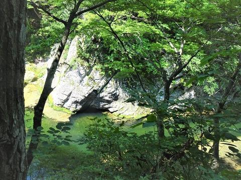 エメラルドグリーンのすだれ滝下流DSC02815 (2)