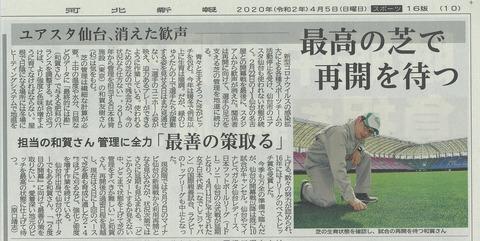 2020.4.5 河北新報「最高の芝で再開を待つ」
