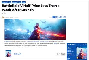 【悲報】PS4『バトルフィールドV』、発売1週間で半額になってしまう