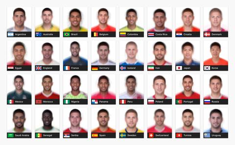 W杯出場チームの各国の平均顔が公開されるwww