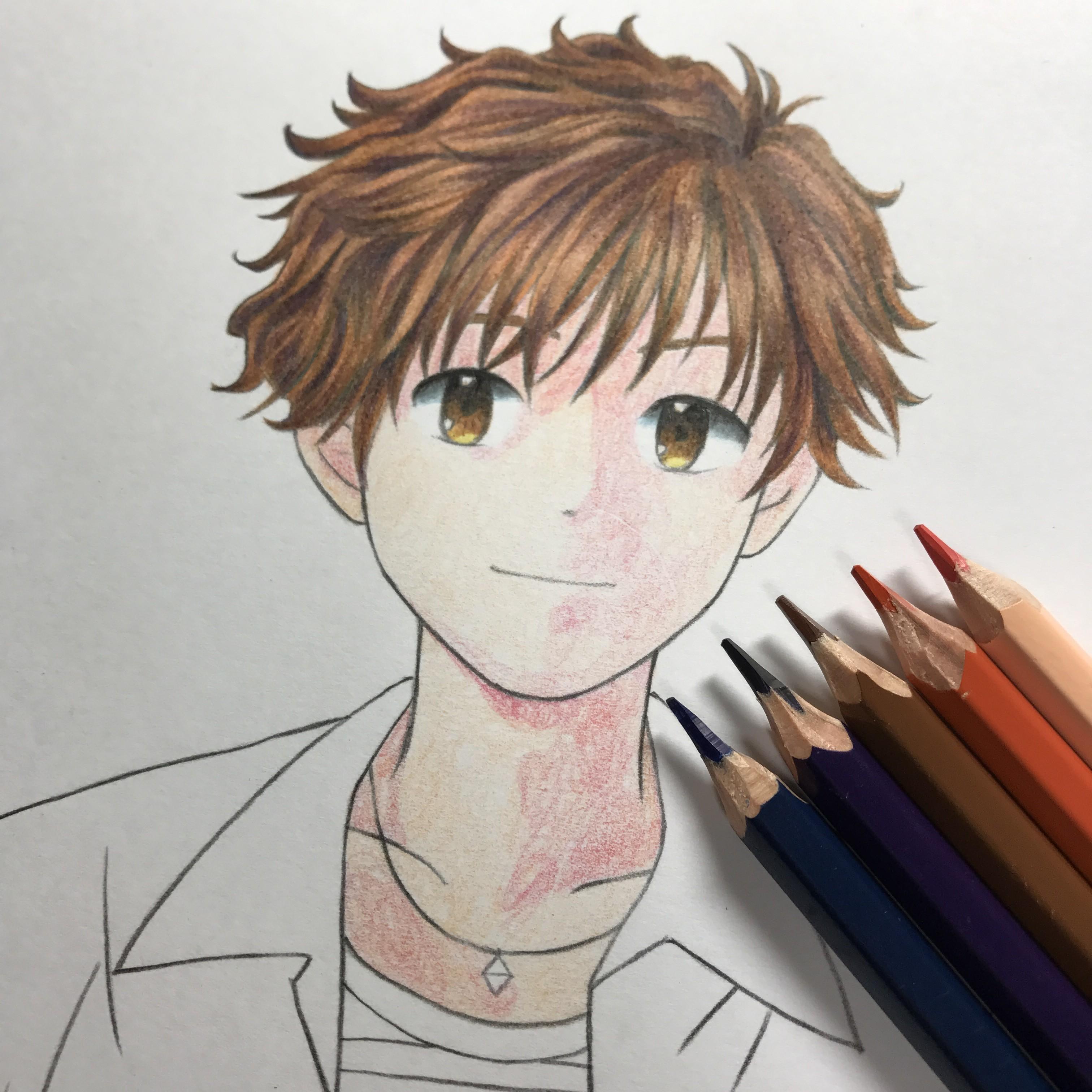 メイキング 色鉛筆で髪の毛 茶髪 を塗るの巻 休日は色鉛筆