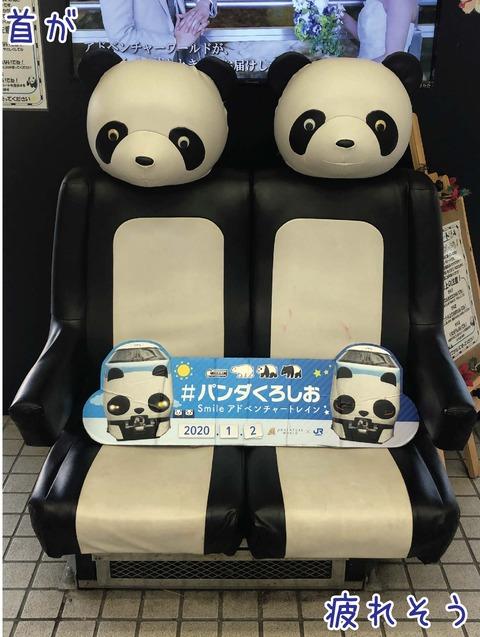 ヘッドレストがパンダの顏の電車のシート