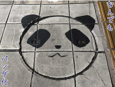 駅のホームのマンホールがパンダ柄