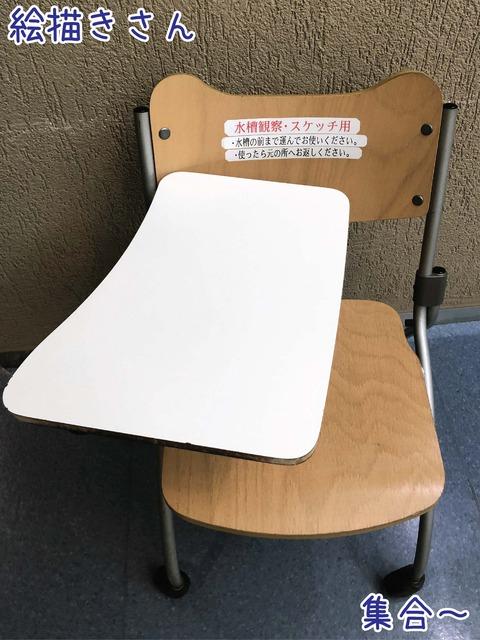 じっくり観察したりスケッチしたりするための机付き椅子