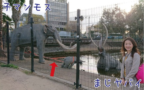 タールの沼から出られないお母さん象の復元模型