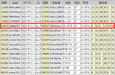 RS野生乱数-GBAエンカウント検索結果