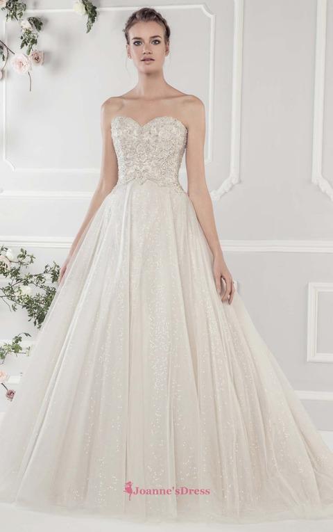 Court Train A-Line Beading Sequins Button Cheap Wedding Dress Uk
