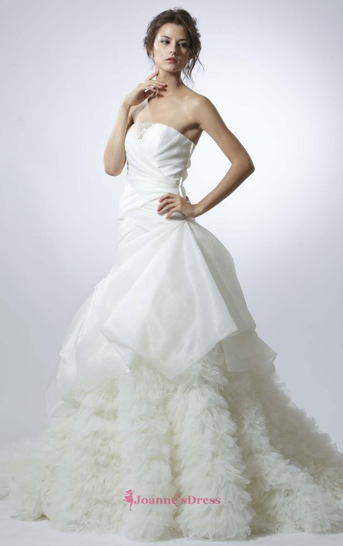 A-Line Court Train Beading Strapless Dresses For Wedding