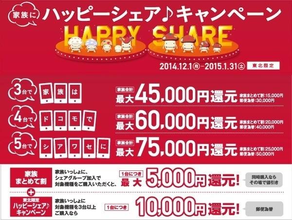 NTTドコモが東北限定「ハッピーシェアキャンペーン」を実施!NTTドコモ... NTTドコモ、東