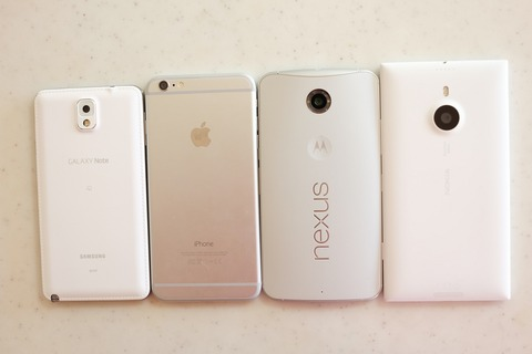 GALAXY Note 3 SC-01FおよびiPhone 6 Plus、Nexus 6、Lumia 1520