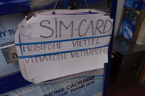 街中の屋台でのSIMカード販売