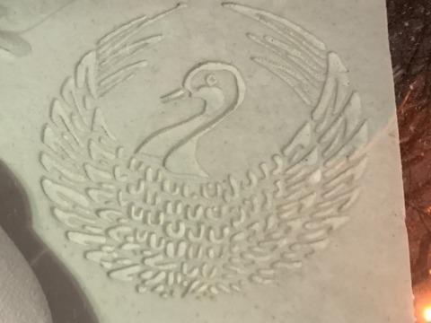 鶴丸、紋、雪像