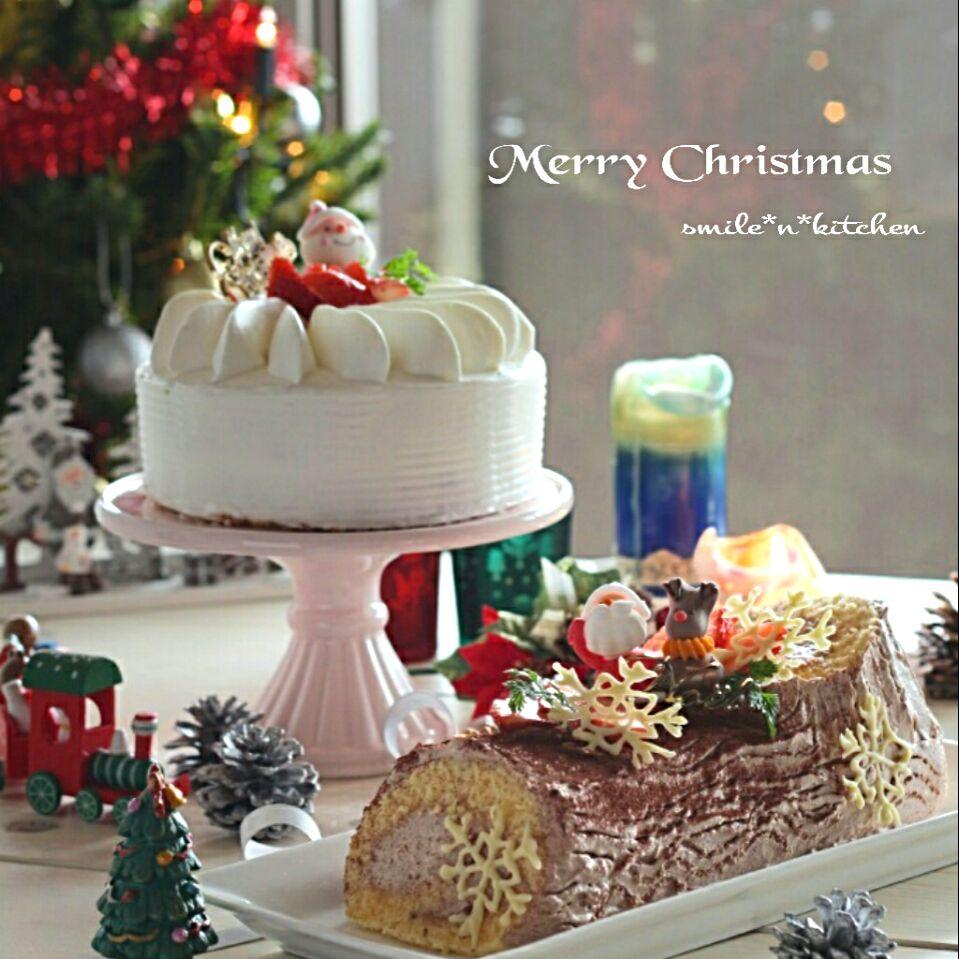 クリスマスケーキ ガトーフレーズ&ブッシュドノエル SnapDish 料理カメラ