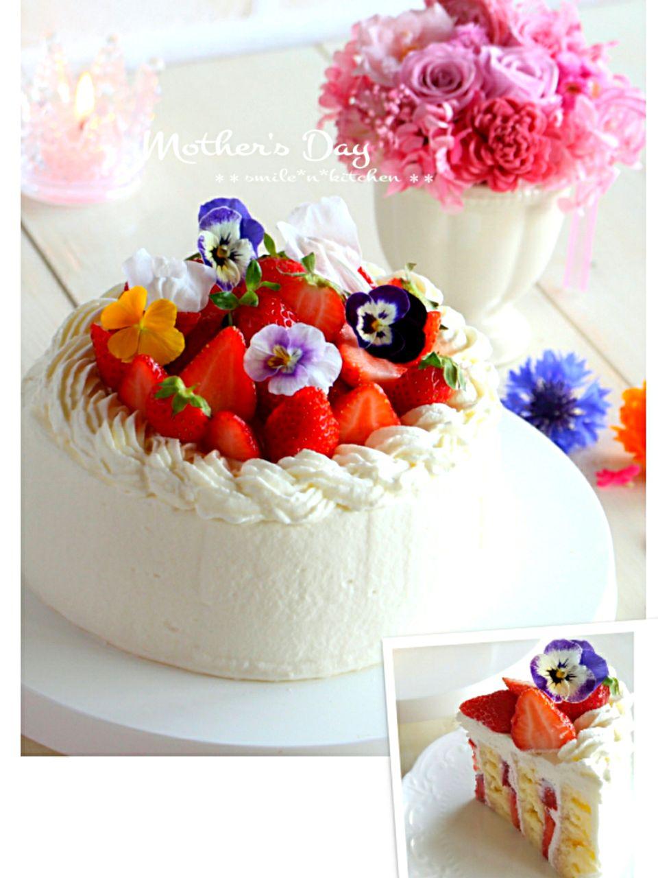 苺のショートケーキ(ストライプケーキ)🌼母の日 SnapDish 料理カメラ