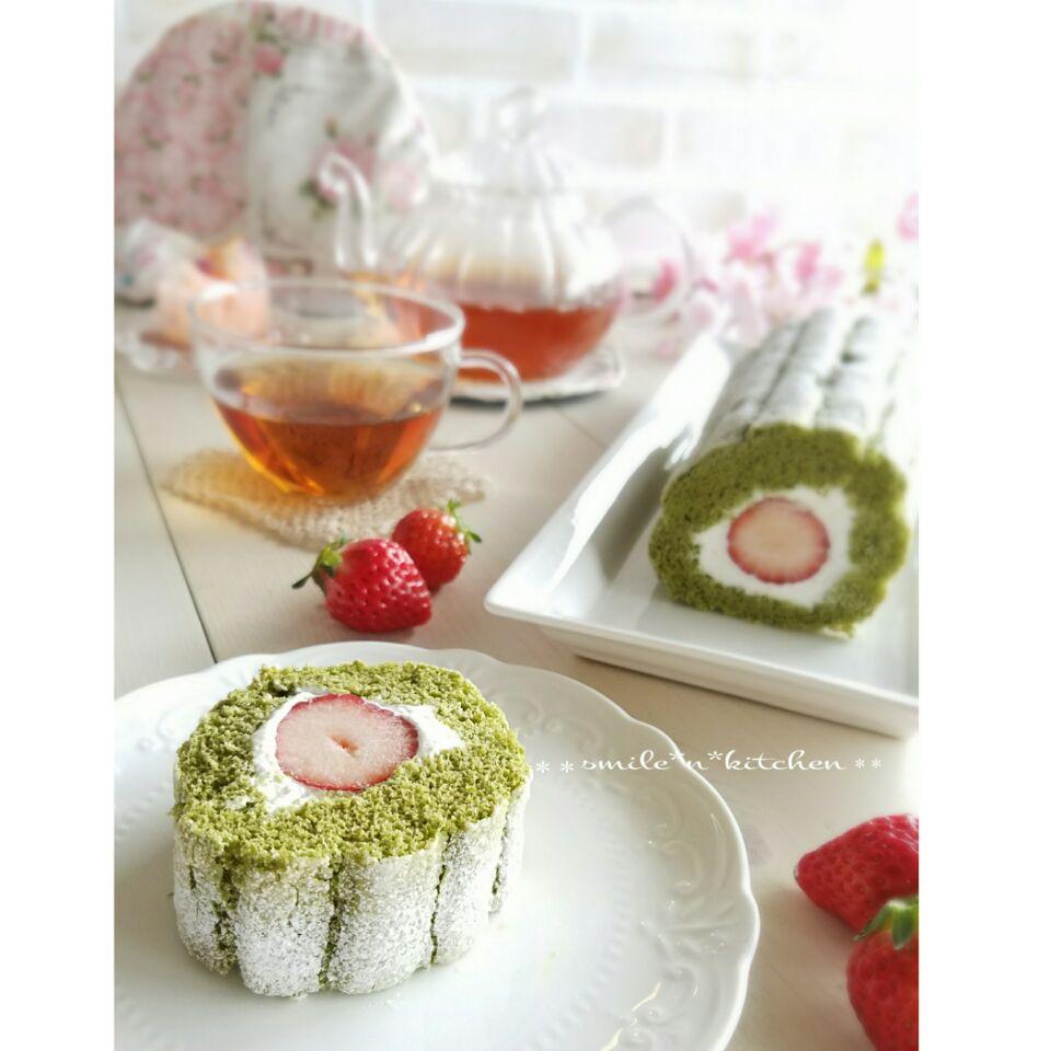 苺の抹茶ビスキュイロール SnapDish 料理カメラ