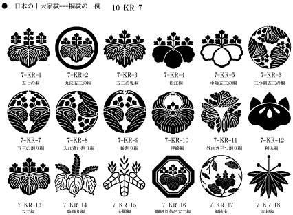 日本の10大家紋ー桐紋の一例