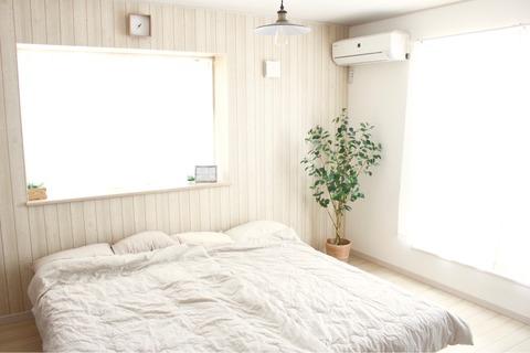 寝室ベッドルーム 肌布団ニトリナチュラルインテリア