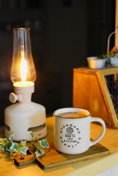 充電式LEDランタンスピーカー 夜コーヒー