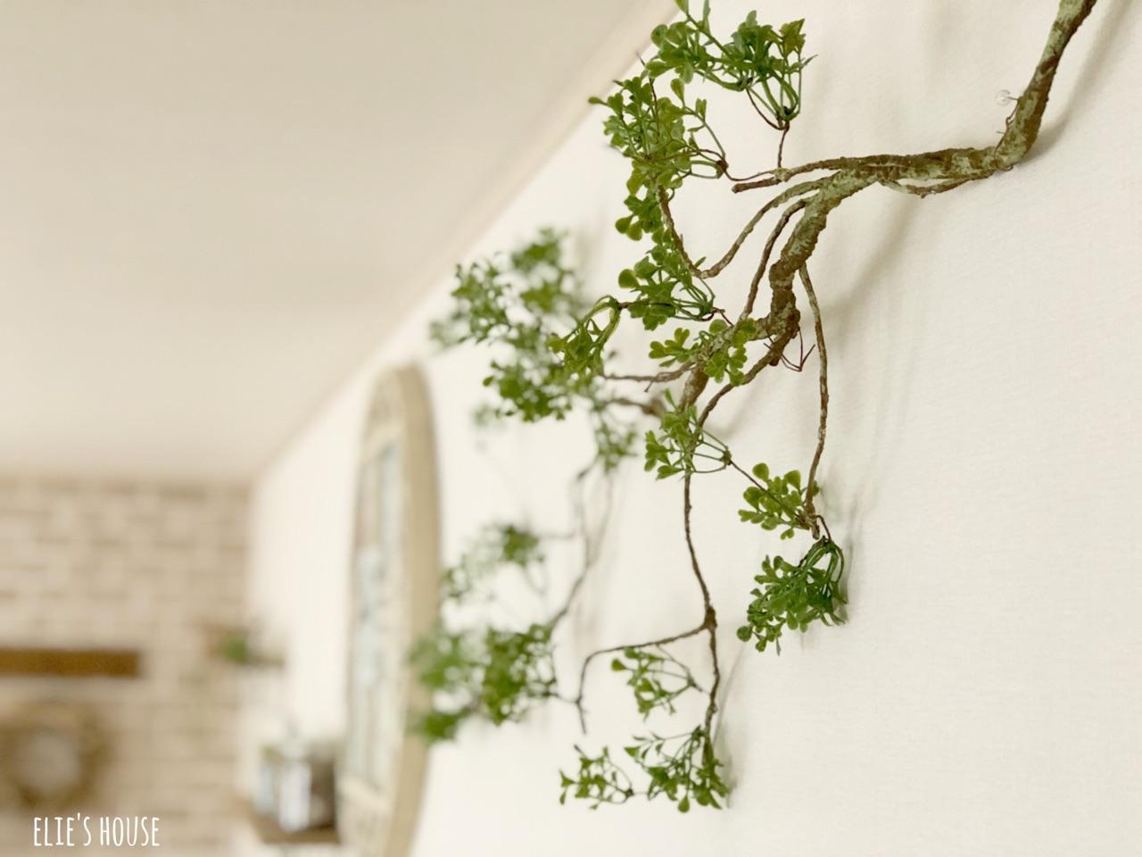 フェイクグリーンを壁に素敵に飾る方法 : elie's house 100均リメイク