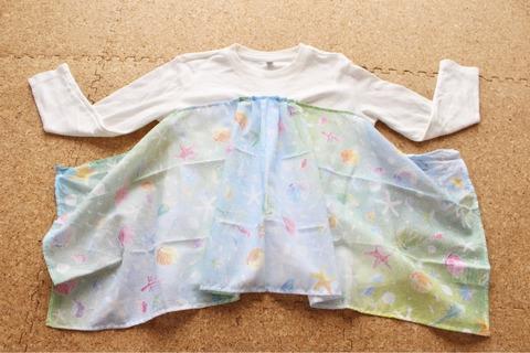 ダイソー手ぬぐいリメイクユニクロ子供服