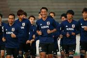 練習する日本代表の選手達