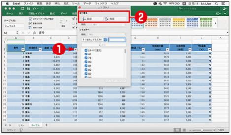 特定の列の値に従ってデータを並べ替える(テーブル)