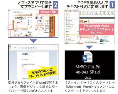 PDFをテキスト形式に変換して文字をコピーできます