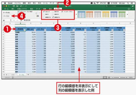 テーブルに表示する要素/書式を設定する