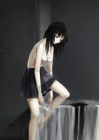 60c4bc87 s - 黒髪ストレート美少女エッチな格好して見つめてくるよ(二次エロ画像)