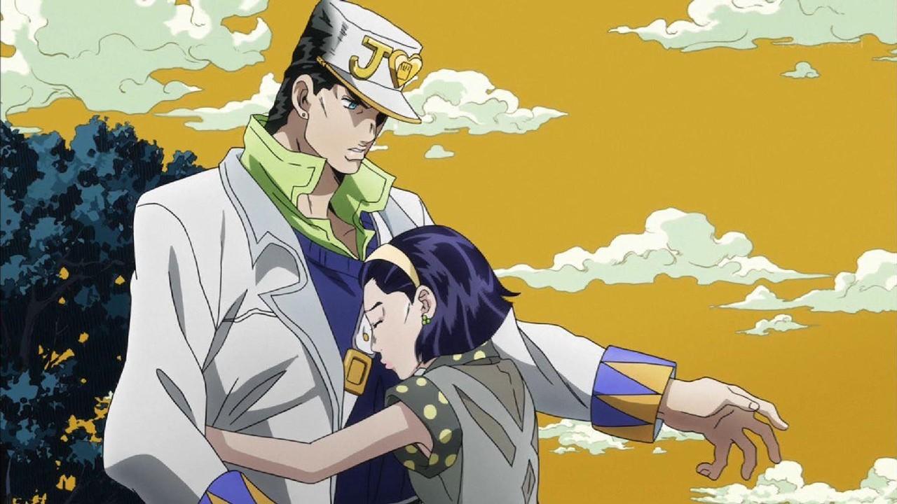 承太郎をジョセフと勘違いし抱き着く朋子