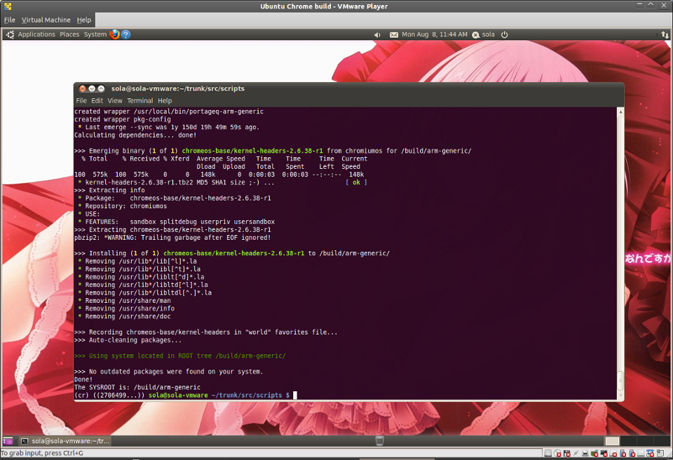 Screenshot-Ubuntu Chrome build - VMware Player-arm