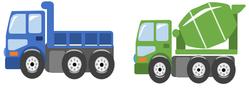 ダンプとミキサー車