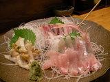5,刺身の盛り合わせ(ノドグロ、ハマチ、バイ貝)