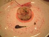 前菜「福井産の貝類のグリエ 越のルビーソース」